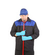 Man in workwear with mop