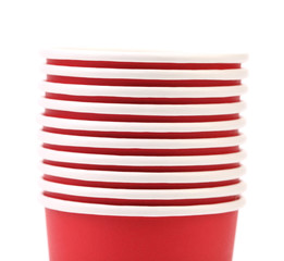 close up red plastic cups