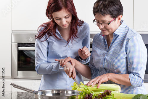 Mother and daughter during cooking