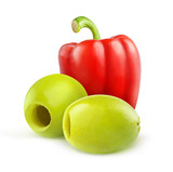 Pitted green olives and red bell pepper