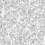 Dance party seamless pattern with doodled youngsters having fun poster