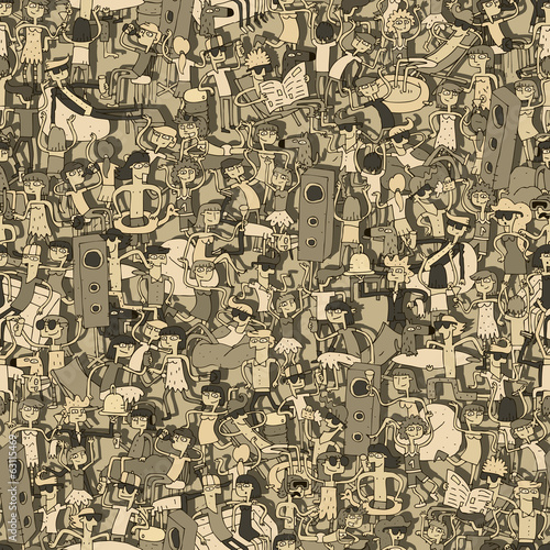 Dance party seamless pattern