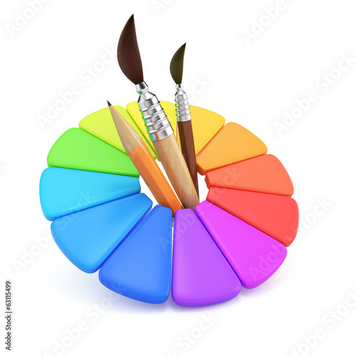 Color wheel and paintbrushes