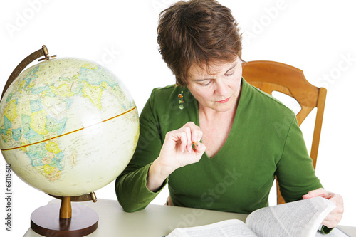 Mature Student or Teacher Studying