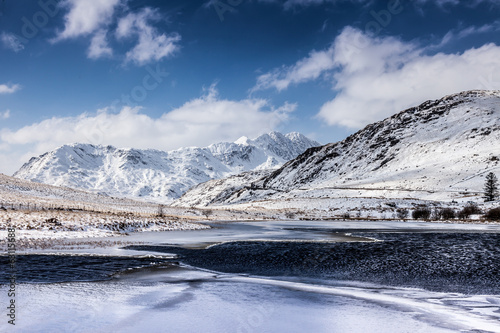 Winter Snow around the lakes of  Snowdonia N