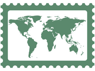 World map on stamp