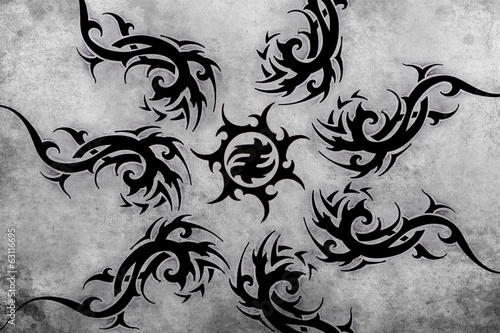 Tribal Tattoo design over grey background. textured backdrop. Ar