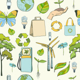 Seamless ecology and environment pattern poster
