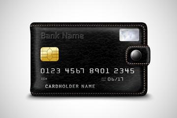 Black wallet bank credit card concept