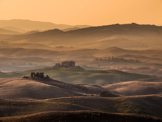 Tuscan Countryside with Hills and Farms