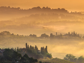 Tuscany Village Landscape on a Misty Morning in August