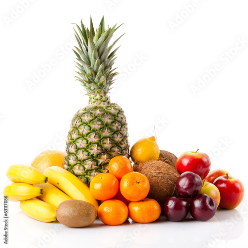 Exotic fruits isolated on white