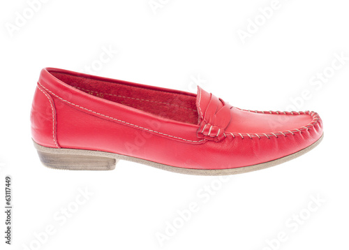 Red moccasins isolated on white background