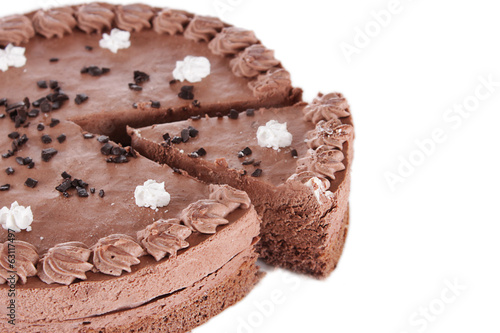Part of round chocolate cake