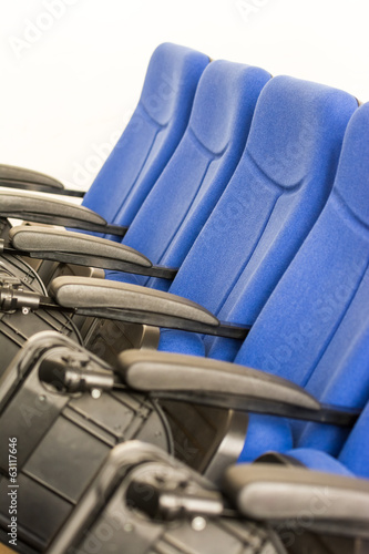 Blue Chairs Close Up In Conference Room