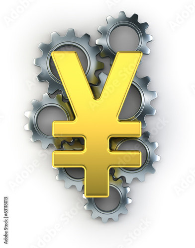 Yen sign on top of cogs