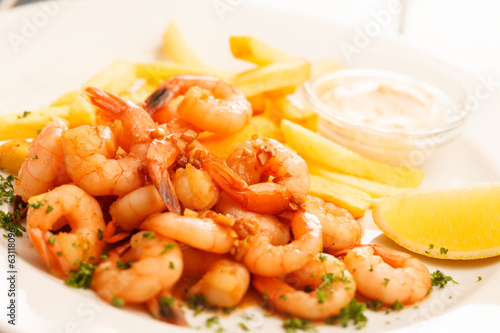 canvas print picture shrimps with french fries potatoes