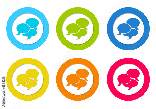 Set of rounded icons with conversation symbol