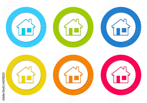 Set of colorful rounded icons with house symbol