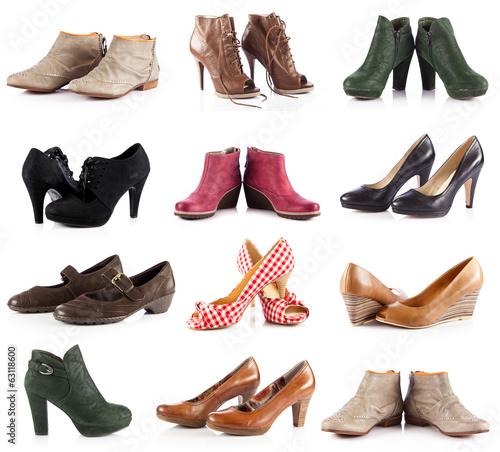 Leinwanddruck Bild female footwear.  female shoes over white