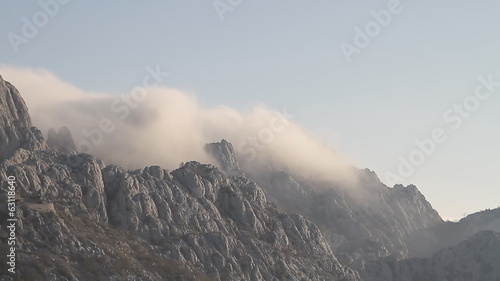 Timelapse of clouds over mountain peak, Velebit, Croatia