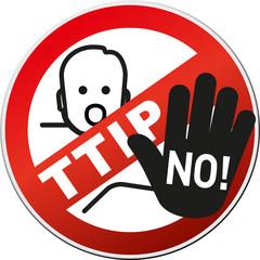 Schild TTIP NO mit Protest hand