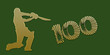 Golden Century Cricket Banner on Green