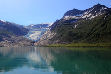 The blue glacier and the green lake