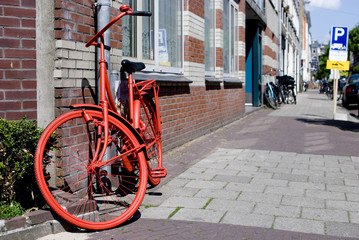 red bicycle parked