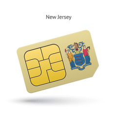 State of New Jersey phone sim card with flag.