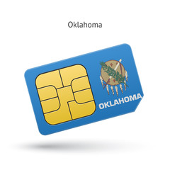 State of Oklahoma phone sim card with flag.