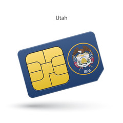 State of Utah phone sim card with flag.