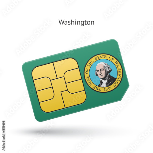 State of Washington phone sim card with flag.