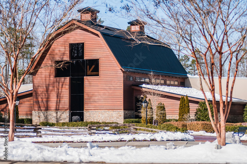 Poster snow covered landscape at billy graham free library