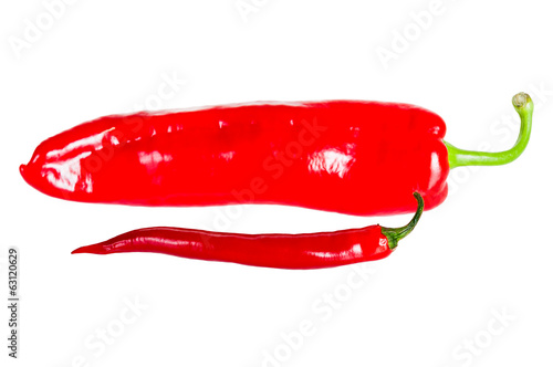 Hot red chilli peppers isolated on white