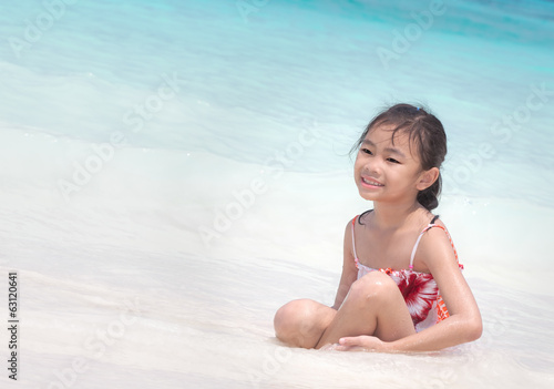 Asia child in Tropical beach, Similan Island