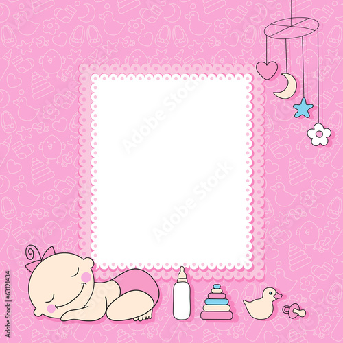 Sweet baby girl announcement card style cartoon.