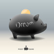 Piggy moneybox with golden coin - for dream, vector Eps10.