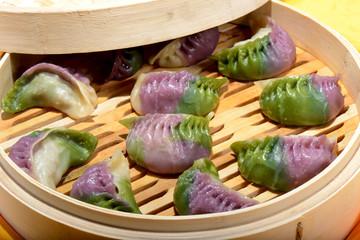 Chinese Food: Colorful steamed dumplings