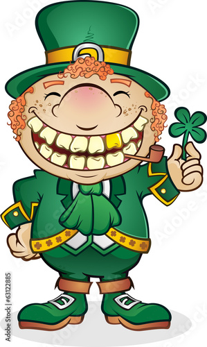 Leprechaun Cartoon Character Holding a Shamrock