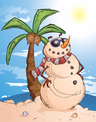 Sand Snowman Cartoon Character in Paradise