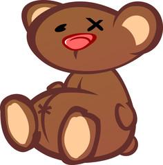 Old Beat Up Teddy Bear Cartoon Character
