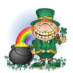 Leprechaun Pot of Gold Cartoon Character