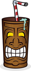Tiki God Wooden Cup Cartoon Character