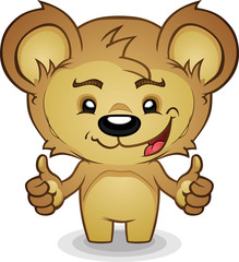 Smiling Thumbs Up Bear Cartoon Character