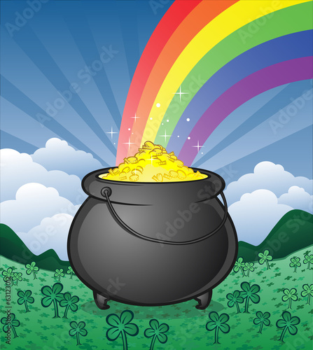 Pot of Gold in a Shamrock Field Cartoon