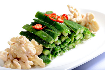 Chinese Food: Salad made of walnut kernel and vegetable