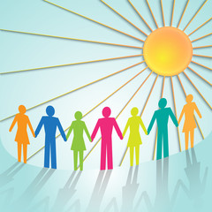 Vector multi-color community pictograms with sun