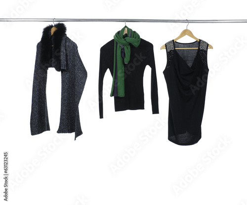 Fashion three female clothing with scarf rack display