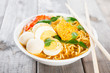 Fresh curry instant noodles soup